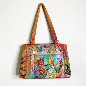 Anuschka Hand Painted Leather Shoulder Bag